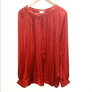 Lucky Brand Red V-Neck Tie Front Silky Like Blouse